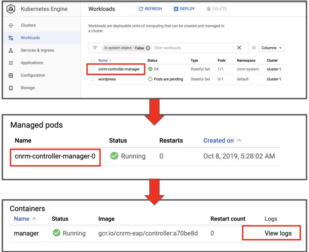 Checking Config Connector logs from Google Cloud Shell UI